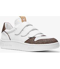 mk sneaker gertie in tela - bianco ottico/marrone (marrone) - michael kors