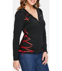 lace up ribbons zipper hoodie