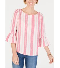 charter club striped ruffle-sleeve linen top, created for macy's