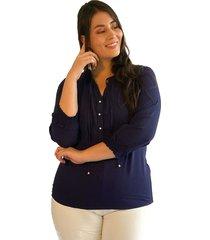 blusa elásticos manga azul plica