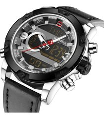 naviforce nf9097g reloj digital analogo militar negro plata