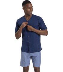 pijama recco aberto de malha algodão azul