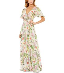 mac duggal beaded-waist gown