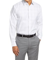 men's big & tall nordstrom traditional fit non-iron windowpane stretch dress shirt, size 18.5 - 34/35 - brown