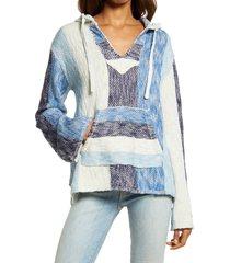 women's faherty women's baja organic cotton beach hoodie, size large - blue