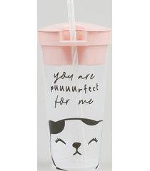 copo estampado de gatinho com canudo e pote rosa
