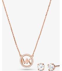 mk set orecchini a bottone e collana in argento sterling placcato ororosa14k con ciondolo logo e pavé - oro rosa (oro rosa) - michael kors