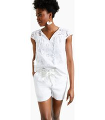 charter club petite cotton eyelet top, created for macy's