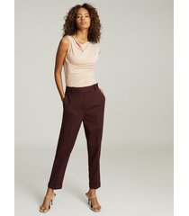 reiss freya - slim fit tailored trousers in berry, womens, size 14