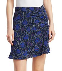 floral-print ruched silk mini skirt