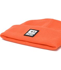 diesel orange cotton beanie hat