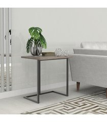 mesa lateral 45 cm preto madeirado escuro mdf lilies móveis