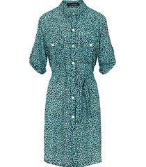 panter knopen jurk turquoise