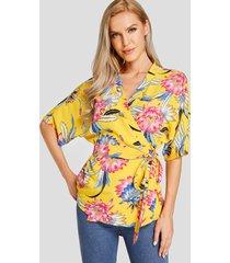 yoins amarilla diseño blusa con cuello de pico y estampado floral