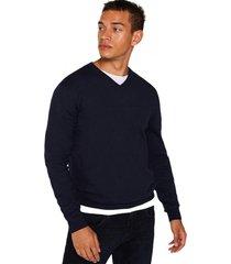 sweater cuello en v azul esprit