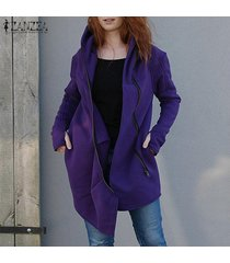 zanzea mujer de manga larga con cremallera capa ocasional asimétrica hem suda la camiseta -púrpura