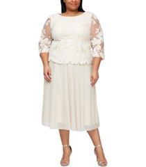 alex evenings plus size embroidered lace a-line dress