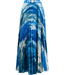 christopher kane sky print pleated skirt - blue