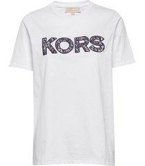 kors logo t-shirt t-shirts & tops short-sleeved vit michael kors