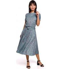 lange jurk be b144 bedrukte uitlopende jurk - mint
