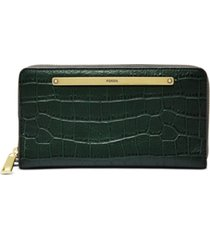 fossil liza zip around leather clutch