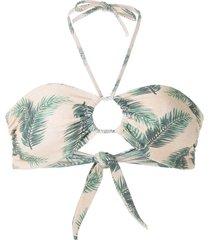 track & field foliage print bikini top - neutrals