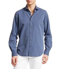 saks fifth avenue men's collection striped cotton boucle sport shirt - blue - size s