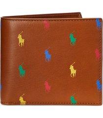 polo ralph lauren men's allover pony leather billfold wallet