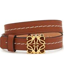 anagram plaque double strap leather bracelet