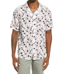 rvca beat print short sleeve button-up shirt, size large in antique white at nordstrom