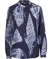stella mccartney eva shirt in blue silk with marine print