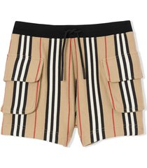 burberry ecru cotton icon stripe shorts
