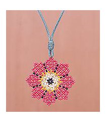beaded pendant necklace, 'eight petals in pink' (thailand)