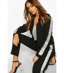 rhinestone diamente stripe slim fit jean jacket, black