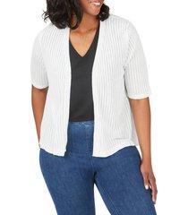 plus size women's foxcroft clarabelle stripe stitch cardigan, size 1x - white