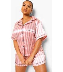plus roze gestreepte satijnen pyjama set met shorts, pink
