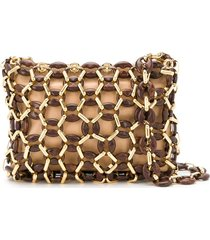 by far capria chainlink-overlay shoulder bag - neutrals