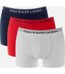 polo ralph lauren men's 3 pack classic trunk boxers - red/white/navy - xl