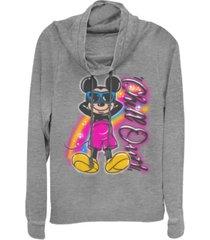 fifth sun juniors disney mickey classic airbrushed mickey fleece cowl neck sweatshirt