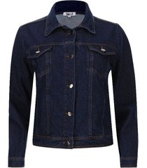 chaqueta jean bolsillos color azul, talla m