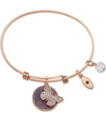 """unwritten """" fearless"""" cubic zirconia and genuine amythest adjustable bangle bracelet in stainless steel"""