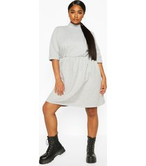 plus high neck sweat smock dress, grey marl