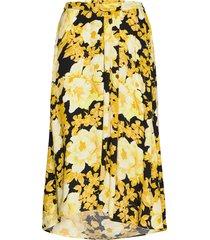 rosanna midi skirt printed knälång kjol gul soft rebels