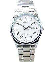 reloj analógico hombre casio mtp-v006d-7b - plateado con blanco