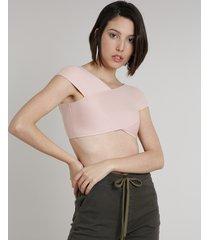 blusa feminina cropped em tricô manga curta decote v rosê