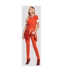 calca basic skinny midi color com ziper laranja pierre - 40