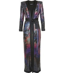 printed sequin belted duster