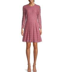 maren grid lace eyelet a-line dress