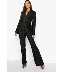 tall plisse broek met wijde pijpen, black