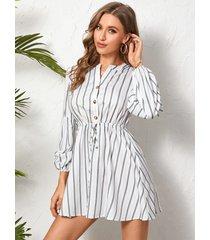 botón a rayas yoins diseño atado diseño mangas largas mini vestido